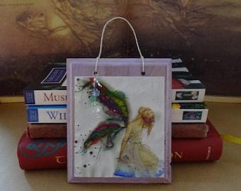 Fabric Faerie ~ Hanging Wooden Gemstone Plaque