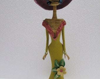 """BEAUTIFUL CATRINA hand made clay figurine day of the dead mexican folk art 11"""""""