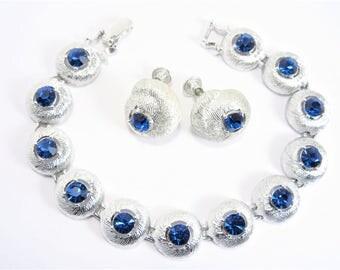 Vintage Blue Rhinestone Bracelet Earrings Jewelry Set 1960s