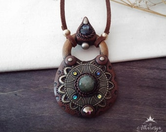 Gipsy Medallion necklace with Labradorite and Amethyst