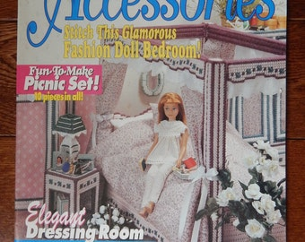 "Fashion Doll Accessories Magazine Plastic Canvas Pattern For 11 1/2"" Dolls/ Bedroom Suite, Dressing Room, Picnic Time & Beach/ Slight Order"