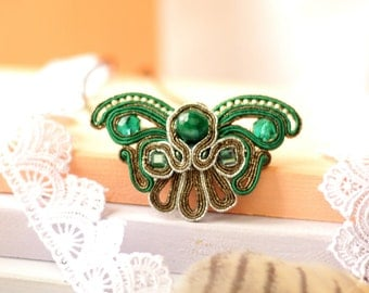 Jewelry pendant Butterfly, soutache embroidery, gift for her, earrings as a gift, modern, handmade embroidery for women