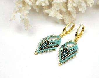 Seed bead earrings dangle earrings long beaded earrings Mothers day gift for mom turquoise earrings tribal earrings beadwork jewelry for mom