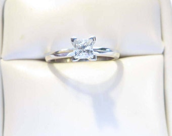 Stunning .60 Ct Princess Cut Natural Diamond Solitaire Engagement Ring