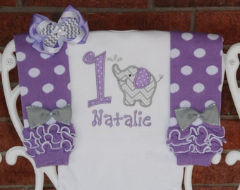 Elephant Birthday Outfit! Baby girl first birthday elephant outfit in purple and gray with applique bodysuit, leg warmers, and hair bow!