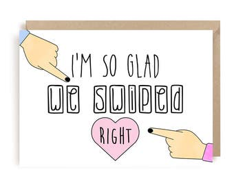 Love Card - Anniversary Card - Funny Love Card - Swipe Right Card - Cute Card For Valentines Day - Love Greeting Card - Boyfriend Card