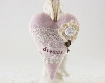 Hanging heart decor Linen heart ornament Dreams decor Primitive heart Lace hearts Fabric hearts Wall hanging hearts Shabby chic decor