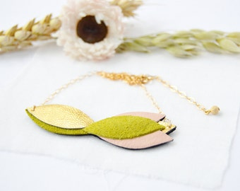 Blossom leather necklace Art Deco jewellery Gift for girlfriend Anniversary gift Bridesmaid necklace Jewelry for her Bridal accessory