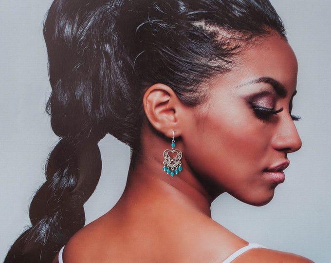 Blue chandelier earrings, Light blue earrings, Chandelier earrings, Blue quartz earrings,Blue beaded chandelier