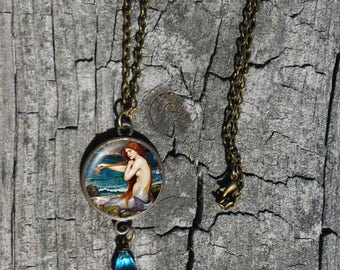 Mermaid Necklace w/Aqua crystal, John Waterhouse Glass Dome Pendant Necklace