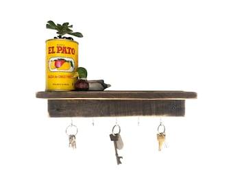 Reclaimed Wood Floating Shelf - dark wood shelf key holder key hook shelf key hanger key hook rack floating shelves entryway organizer rack