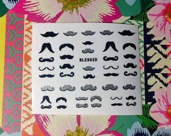 Bugsy Malone Glitter Fancy Gentlemans Posh Moustache Nail Stickers Festival Party B057