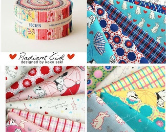 "Cats Bunny Geometric Jelly Roll 2 1/2"" strips - quilt fabric Radiant Girl by  Koko Seki - Lecien Japan Sushi Roll fabric bundle , 42 pieces"