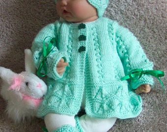 Handmade Green baby sweater set or Reborn St Patrick's day  Easter Sweater hat booties Layette Shamrock buttons r - 0 -12M Ready To Ship
