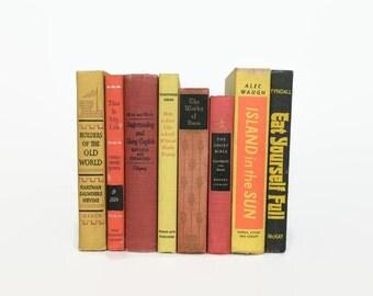 Vintage Collection of Books // Red Orange Yellow Books // Shelf Styling // Shelf Decor