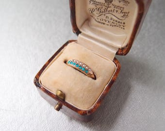 antique Georgian 15k gold Ring with Turquoise & Seed Pearls half hoop stacking band c. 1810 to 1820s Regency era size 7.5