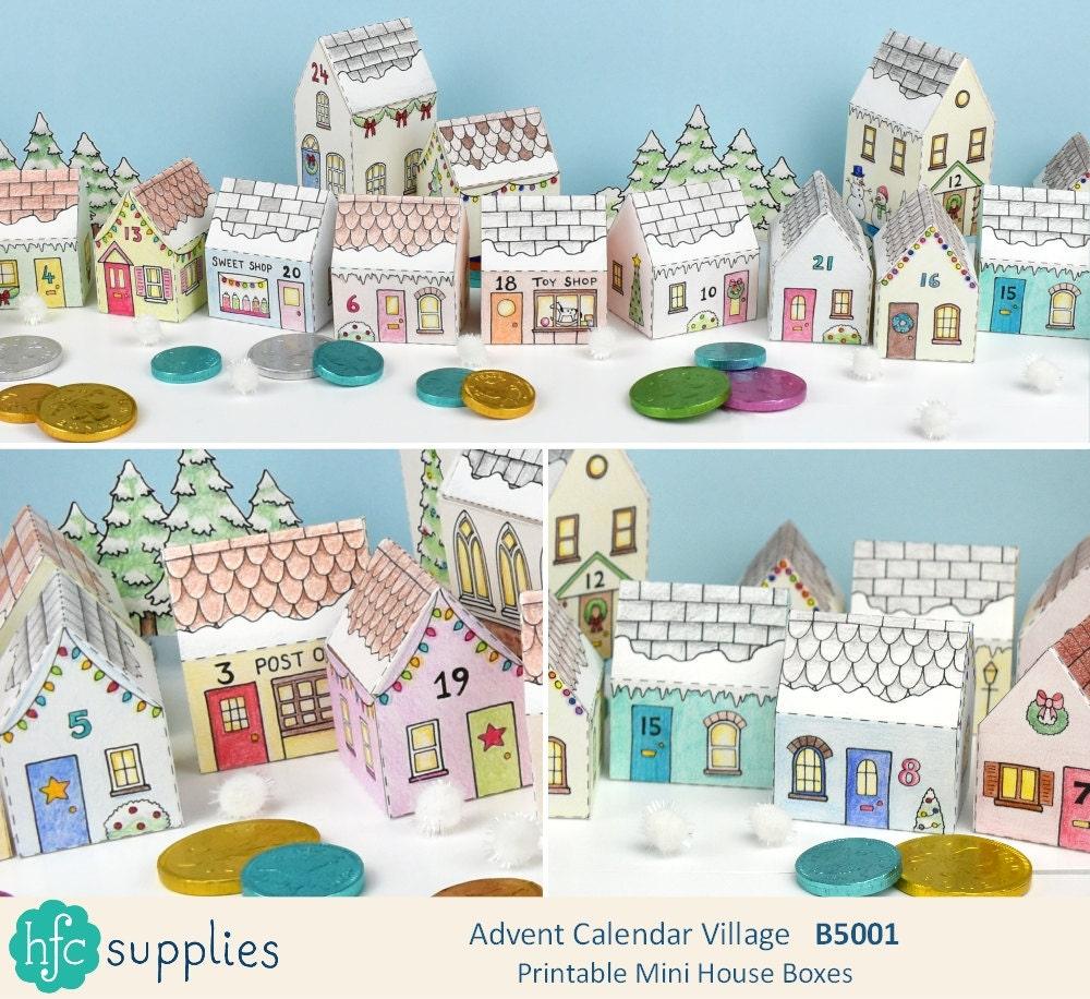 printable advent calendar village mini house boxes to print