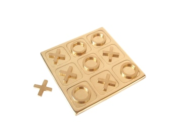 """Vintage Brass Tic Tac Toe Game/ Vintage Brass Board Game/ Coffee Table Game/ Brass Game Pieces """"X's """"O's""""/ Hollywood Regency Mid Century MCM"""