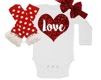 1st Valentines Day Outfit, Babys First Valentines Day, Girls Valentines Day Outfit, Love Outfit, Red Leg Warmers, Red Bow , Heart outfit