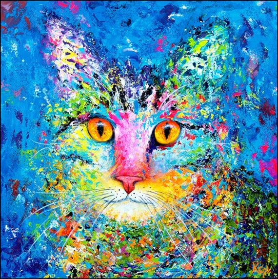 Cat Wall Art - Cute Blue Tabby Cat Art Print, Colorful Tabby Cat Artwork, Blue Cats, Cute Kitty Art, Artistic Cat Portrait, Cat Lover Gift.