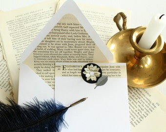 Pride and Prejudice Stationery, Upcycled Book Stationary, Literary Gift, Recycled Jane Austen Book, Mr. Darcy, Mother's Day Gift, Snail Mail
