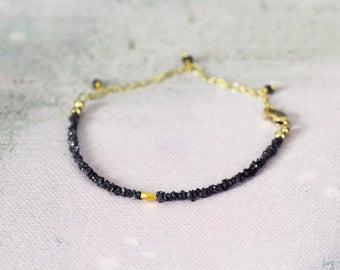 Raw Diamond Bracelet - Skinny Boho Bracelet - Black Diamond Bracelet - April Birthstone - Gift For Her - Raw Diamond Jewelry