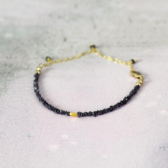Raw Diamond Bracelet - Skinny Boho Bracelet