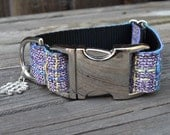 The Castro Dog Collar - Purple Wool - Colorful Plaid Dog Collar, Adjustable with Silver Hardware