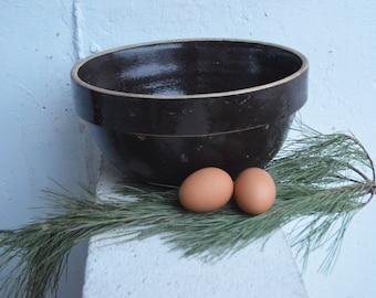 10% OFF SALE from 69: Primitive, Vintage Dark Brown Stoneware Mixing Bowl Crock