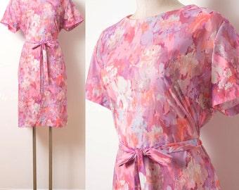 Vintage 60s Dress, Vintage Pink Dress, 60s Pink Dress, Mad Men dress, 60s shift dress,Vintage abstract dress,Vintage Opt Art Dress - 1XL/2XL