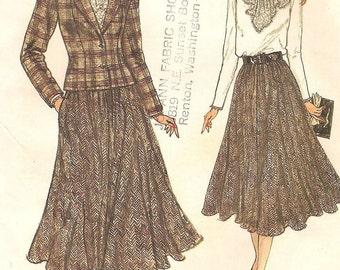 Vintage Vogue Jacket Lace Jabot Blouse & Full Skirt Womens Size 12 14 16 Uncut Sewing Pattern