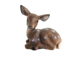 Ceramic Fawn Figurine, Deer Figurine, Vintage Deer, Woodland Decor