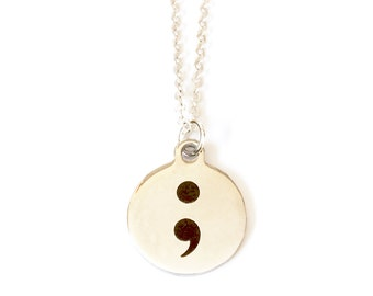 Semicolon Necklace Motivational Necklace Inspirational Jewelry Encouragement Gifts Mental Health Awareness Not Over Yet My Story Isn't Over