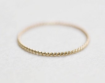 14k or 18k Gold Rope Ring Twist Ring Twisted Stacking Ring Braided Thin Solid Gold Dainty Delicate gold ring Skinny 1mm 1.3mm