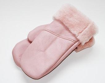Pink sheepskin mittens