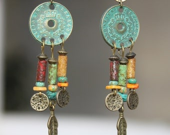 Boho Earrings Bohemian Earrings Jewelry Dangle Brass Ethnic Hippie Gypsy Turquoise Green Earrings Patina Earrings Chandelier Gift for her