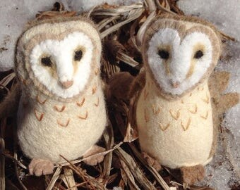 Wool Barn Owl Stuffed Animal, Fiber Art Toy, Soft Sculpture, Waldorf Storytelling Puppet