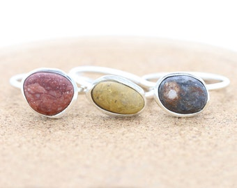 Sterling Silver Pebble Rings | Eco friendly ring | Beach Jewelry | Nature Inspired | Boho | Bohemian Rings |OOAK