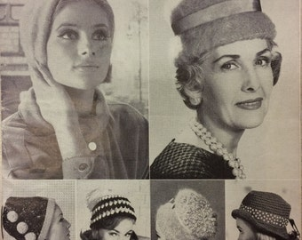 Vintage knitting pattern P&B 9100 1950s/1960s Hat parade
