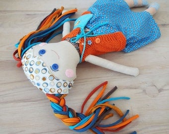 Doll for Play, Soft Doll Toy, Handmade Rag Doll, Gift for Girl, Retro Textile Doll, Fabric Doll, Cloth Doll, Linen Doll Gift for Daughter