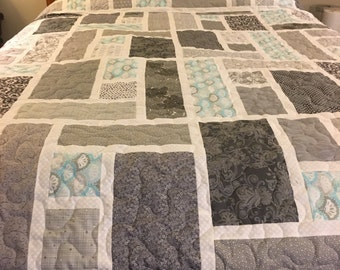 More shades of gray. This is a handmade new queen size quilt.