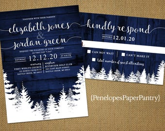 Elegant Rustic Navy Winter Wedding Invitation,Snow,Pine Trees,Navy Barn Wood,Calligraphy,Romantic,Rustic,Printed Invitation,Wedding Set