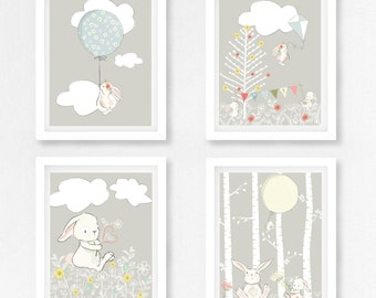 Grey Nursery Decor, Gender Neutral Baby Gift, Rabbit Nursery, Bunny Nursery  Decor,