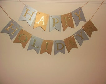 Silver and Gold Happy Holidays Banner, Christmas Greetings, Seasons Greetings, Happy Holidays. Merry Christmas,  Holiday Greetings,