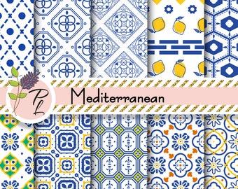 Mediterranean Blue and White tiles Digital Paper Set. Portuguese and Italian inspired floor azulejos ceramic tiles printable designs.