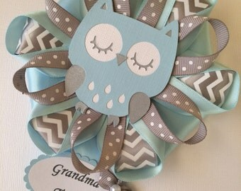 Light blue and grey owl baby shower corsage/Owl Mommy to be pin/Boy owl baby shower corsage