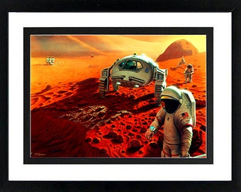 Mars NASA Space Poster Astronaut Explorers Framed Display Various Sizes