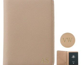 PERSONALISED MONOGRAMMED Saffiano Leather Passport Holder Travel Wallet Taupe