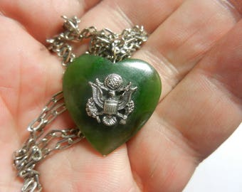 Vintage WW2 Jade Sweetheart Heart Pendant and Chain