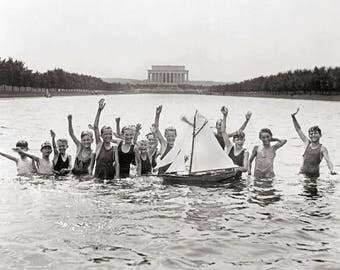 Boys Swimming, 1926. Vintage Photo Reproduction Print. 8x10 Black & White Photograph. Summer, Beach, Sailboat, 1920s, 20s, Historical.